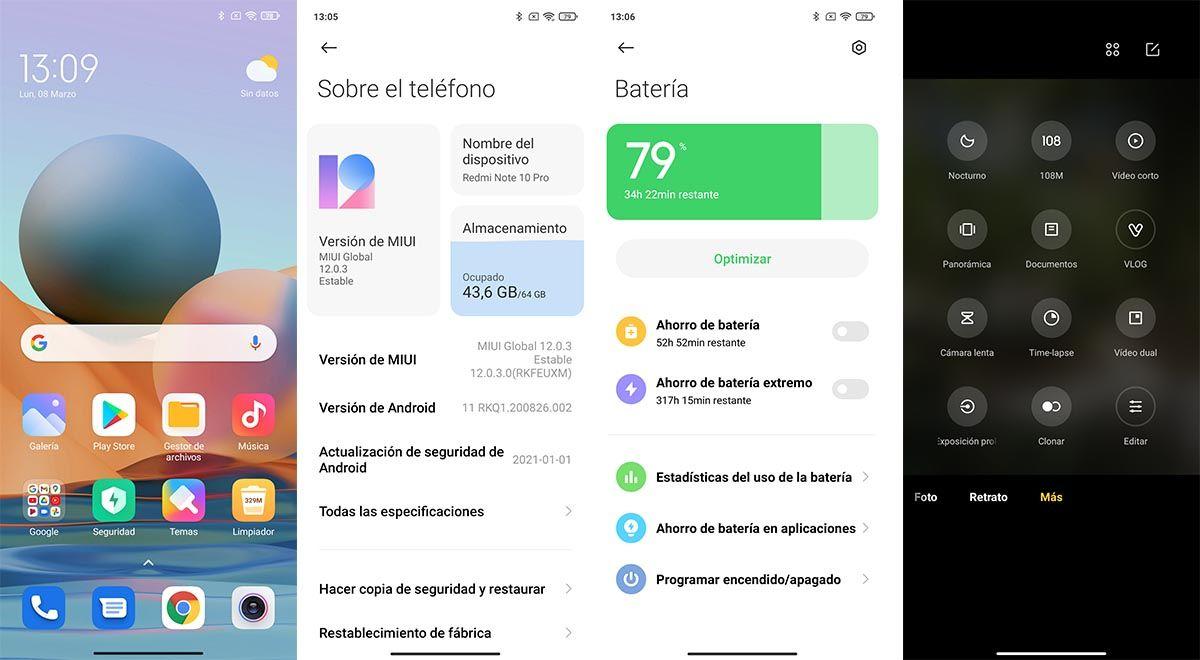 Interfaz Redmi Note 10 Pro