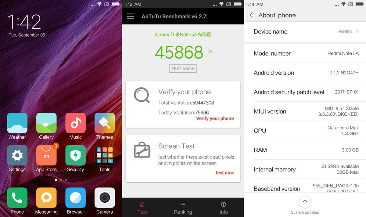 Interfaz Redmi Note 5A