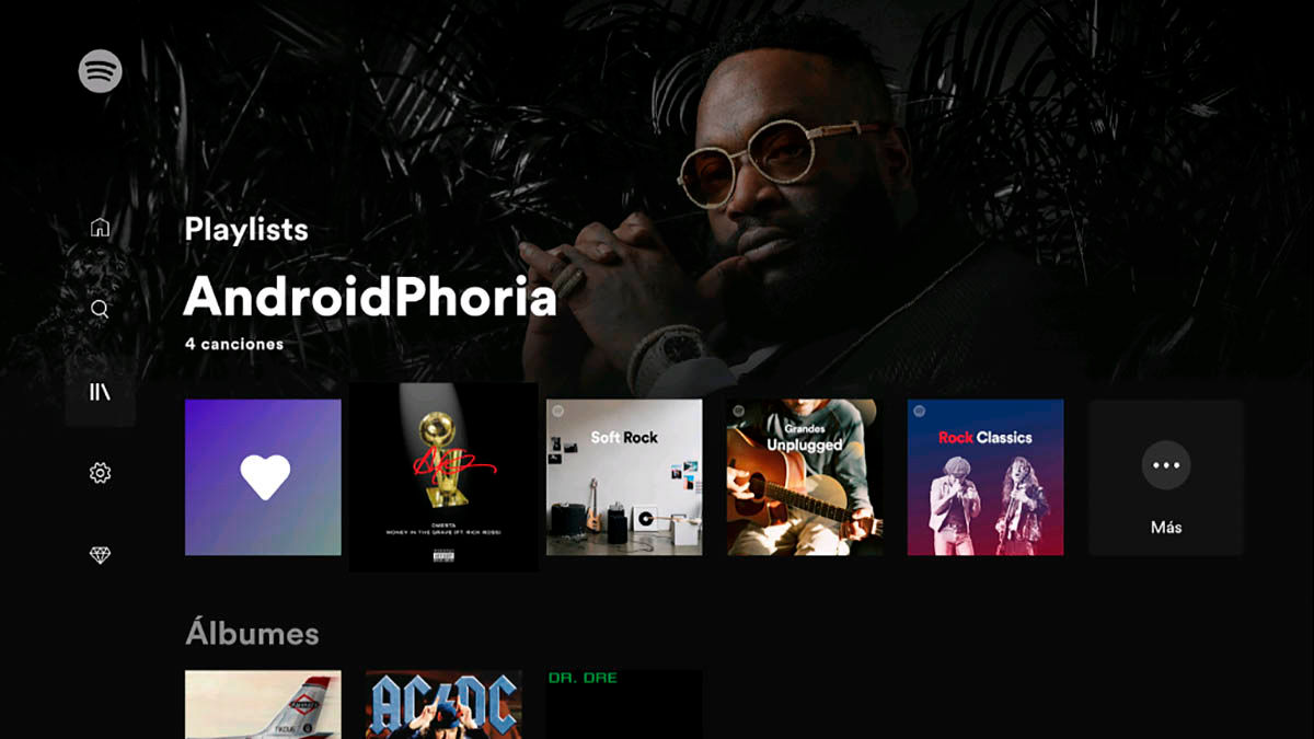 Interfaz Spotify Android TV