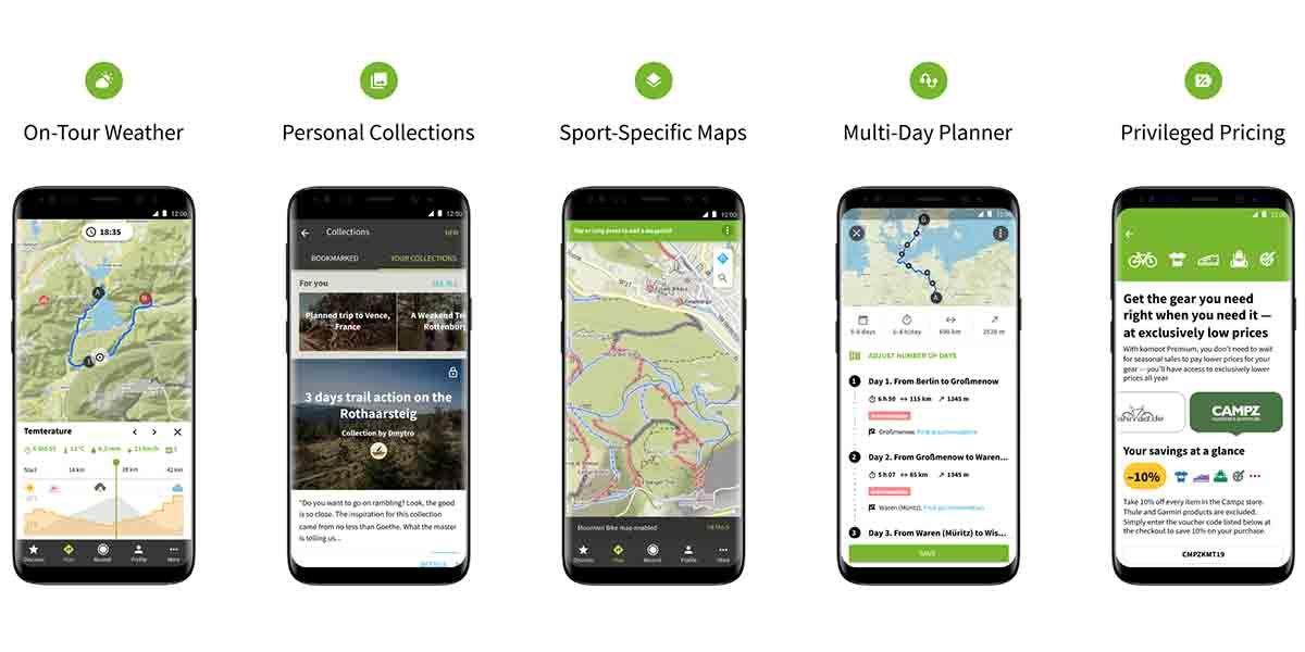 Interfaz de la app Komoot para hacer rutas deportivas