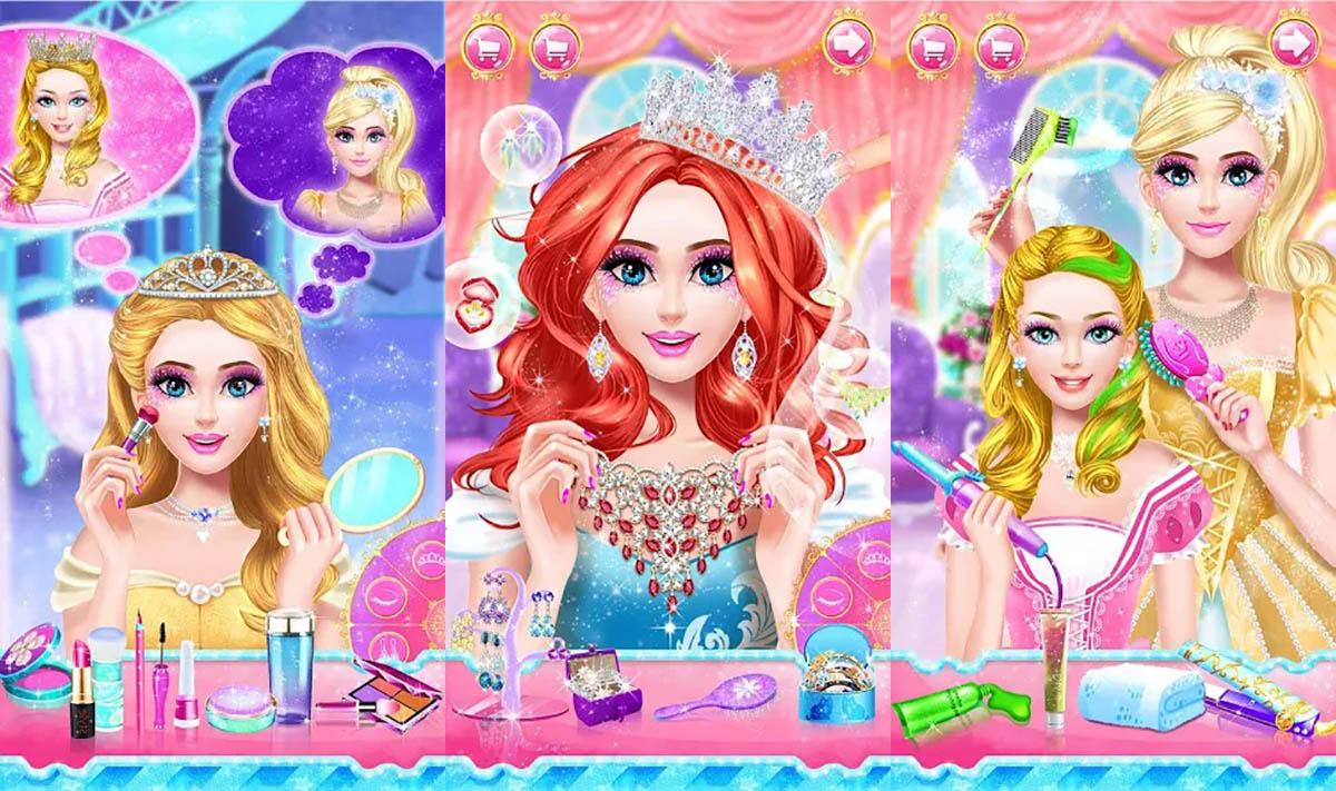Juego de vestir y maquillaje princesas