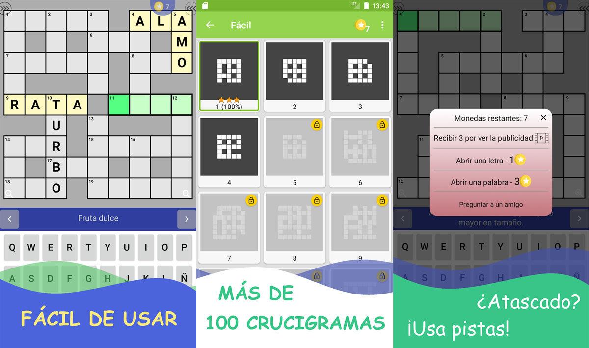 Juego sencillo de rompecabezas con crucigramas totalmente gratuito para Android