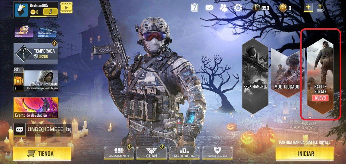 Jugar battle royale en primera persona COD Mobile paso 1