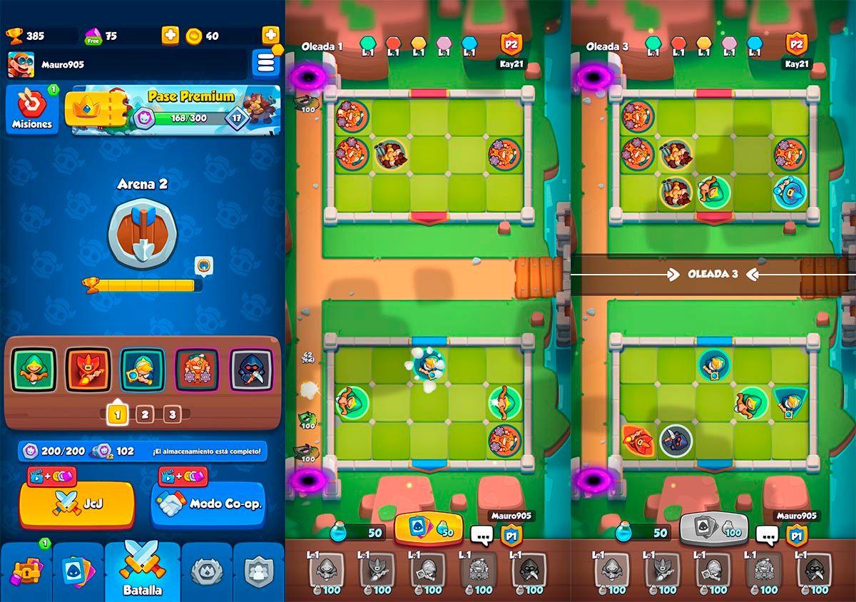 Jugar modo cooperativo para obtener mas recompensas Rush Royale