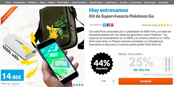 Kit supervivencia pokemon go 15 euros