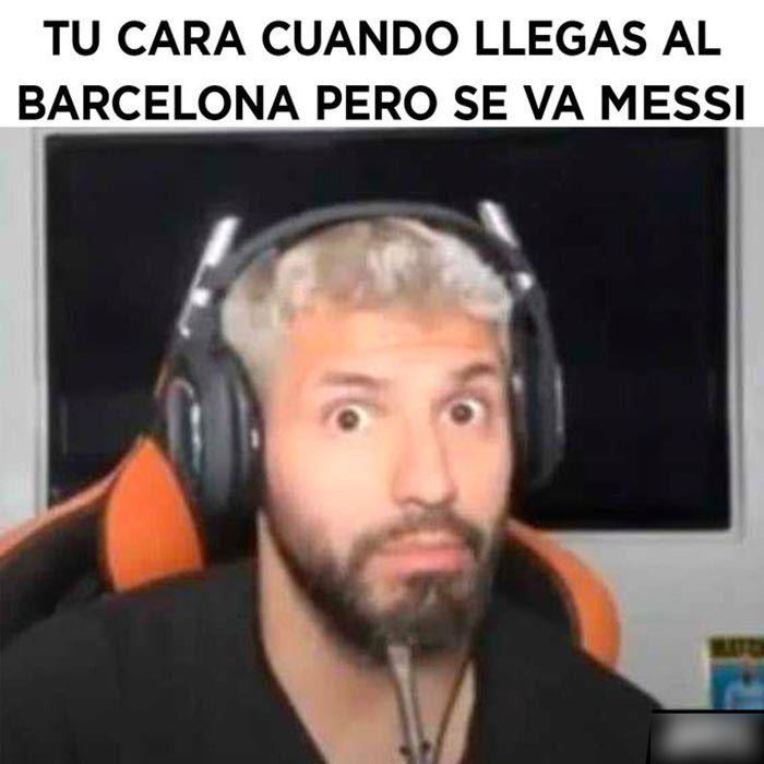 Kun Aguero Barcelona Messi meme