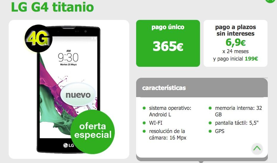 LG G4 365 euros amena