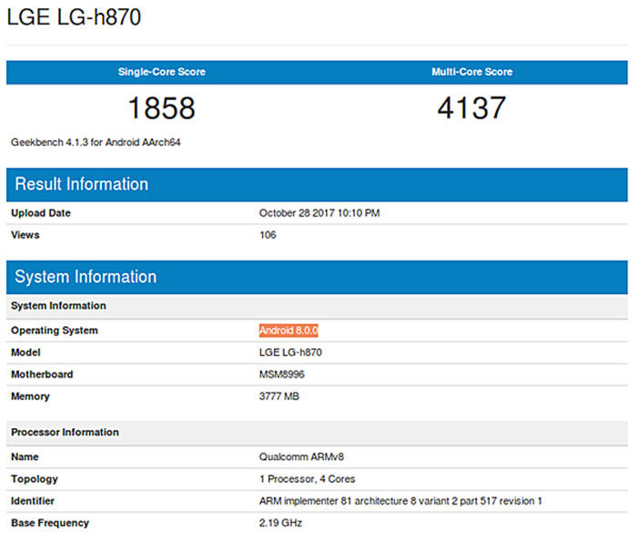 LG G6 Geekbench Android Oreo