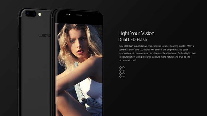 Leagoo M7 doble flash led trasero