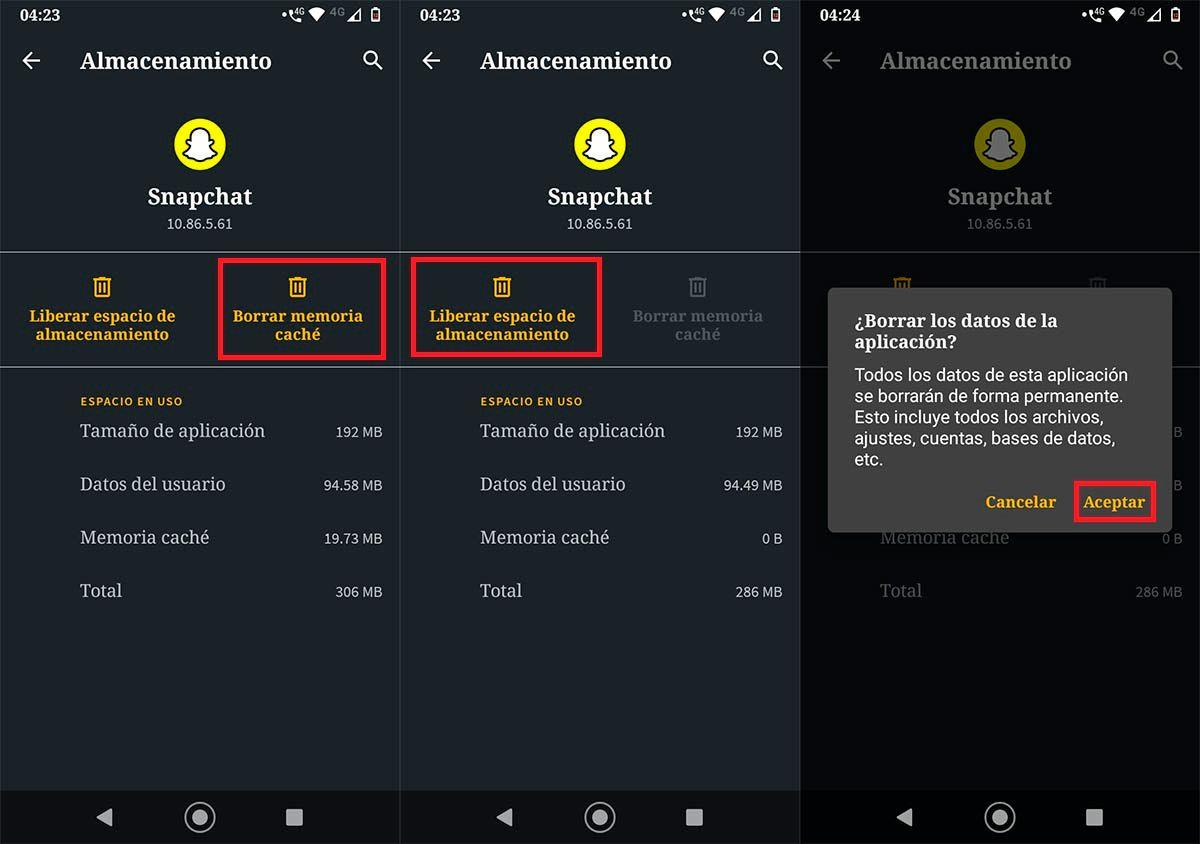 Liberar espacio de almacenamiento Snapchat