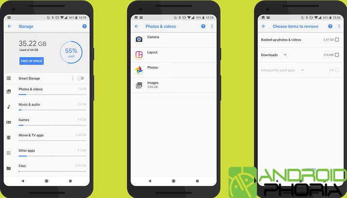 Liberar espacio en Android Oreo