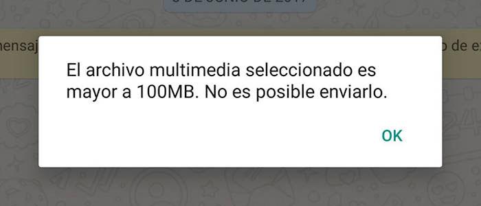 Limite 100 MB enviar archivos whatsapp
