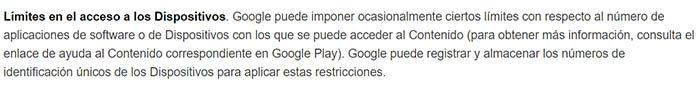 Limite de acceso de los dispositivos de la Google Play