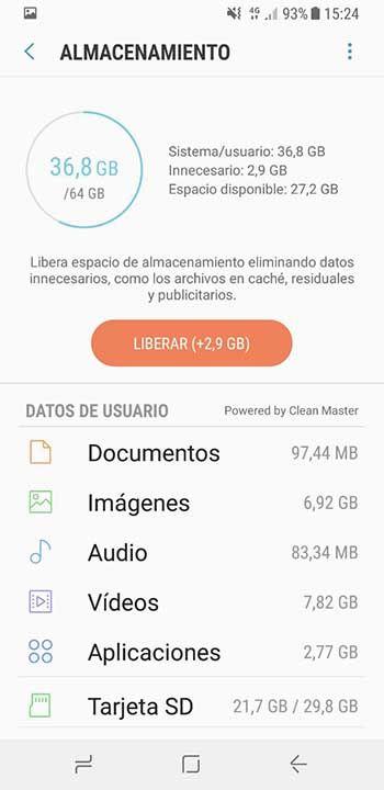 Limpiar archivos basura Galaxy S8