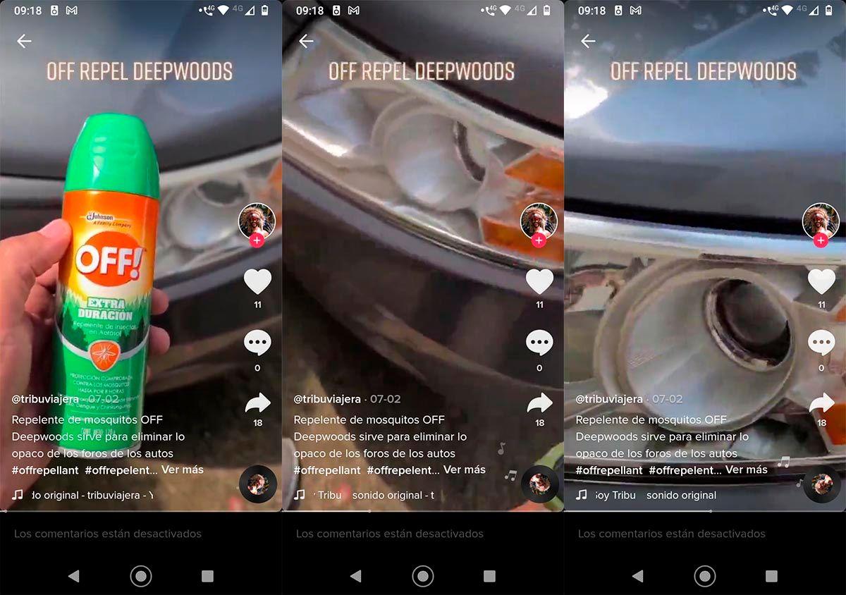 Limpiar luces del coche con repelente OFF TikTok