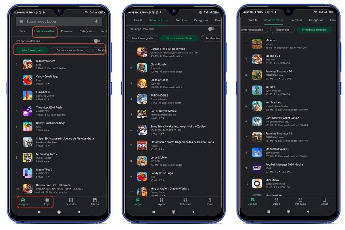 Listado de mejores aplicaciones Google Play Store