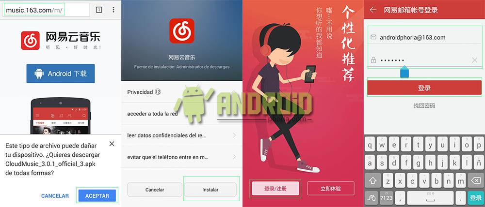 Loguearte en NetEase chino