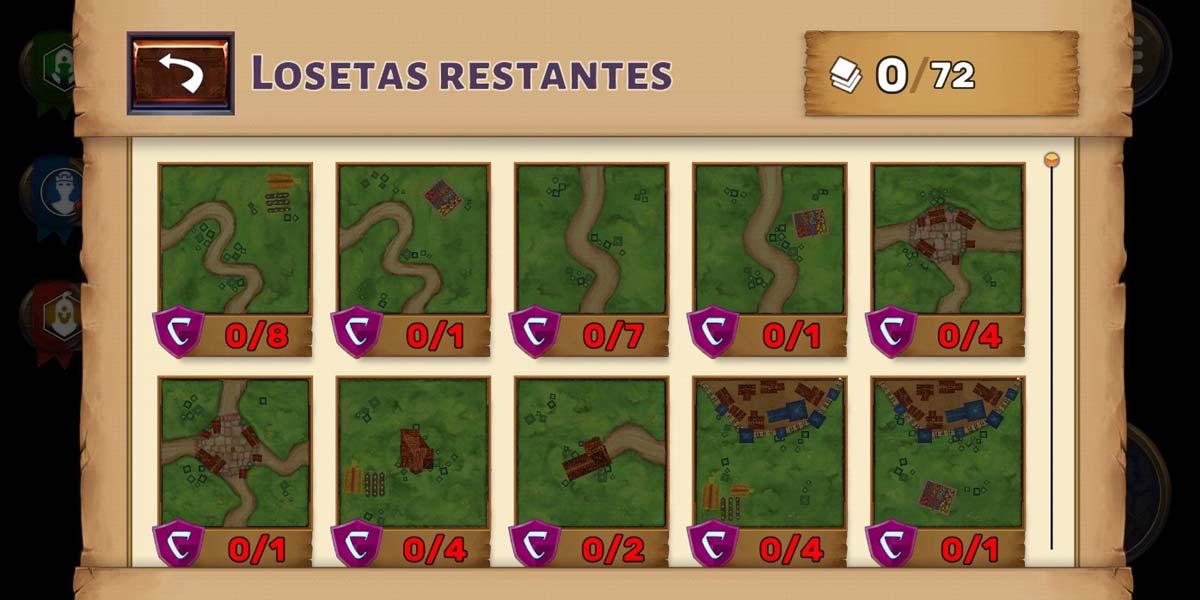 Losetas en el juego Carcassonnepara Android