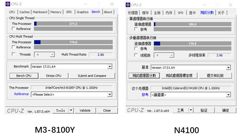 M3 8100Y VS N4100 CPU-Z