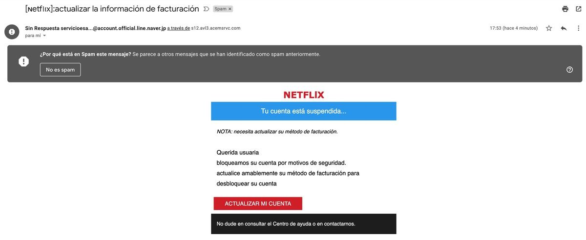 Mail estafa netflix