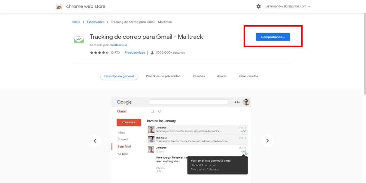 Mailtrack extensión de Google