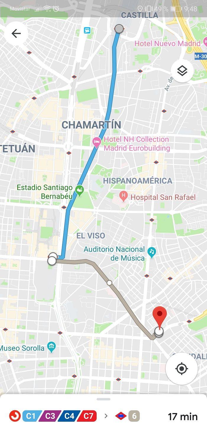 Mapa de la ruta Google Maps