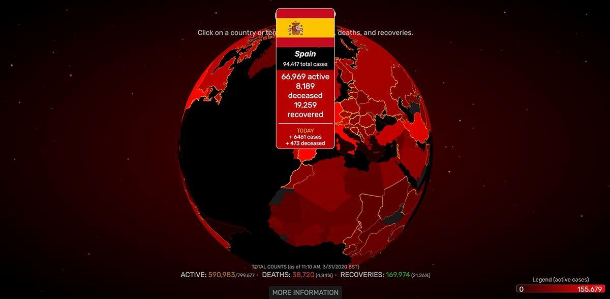 Mapa mundial del coronavirus covid 19