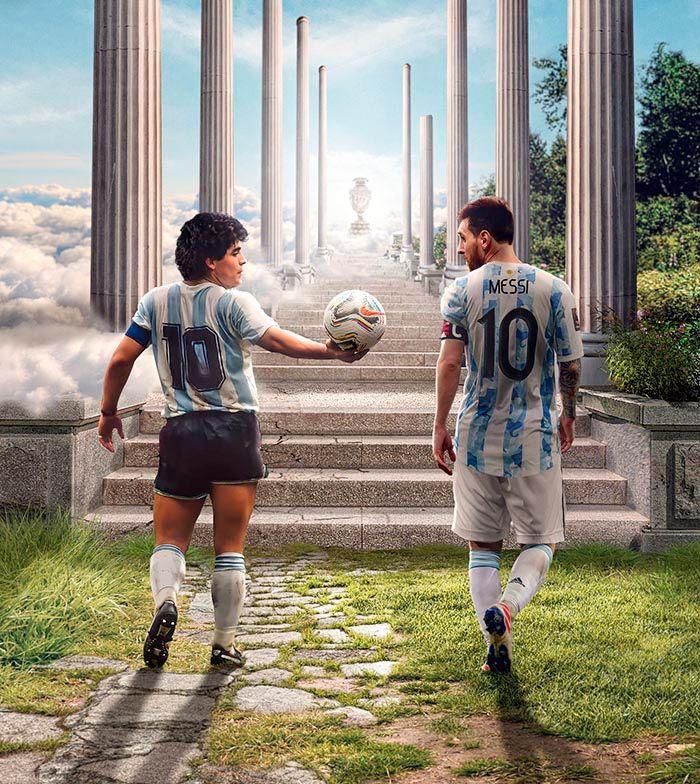 Maradona y Messi meme Argentina campeon 2021