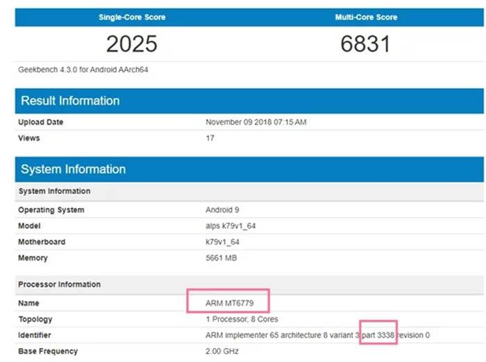Mediatek Helio X40 resultados de Geekbench