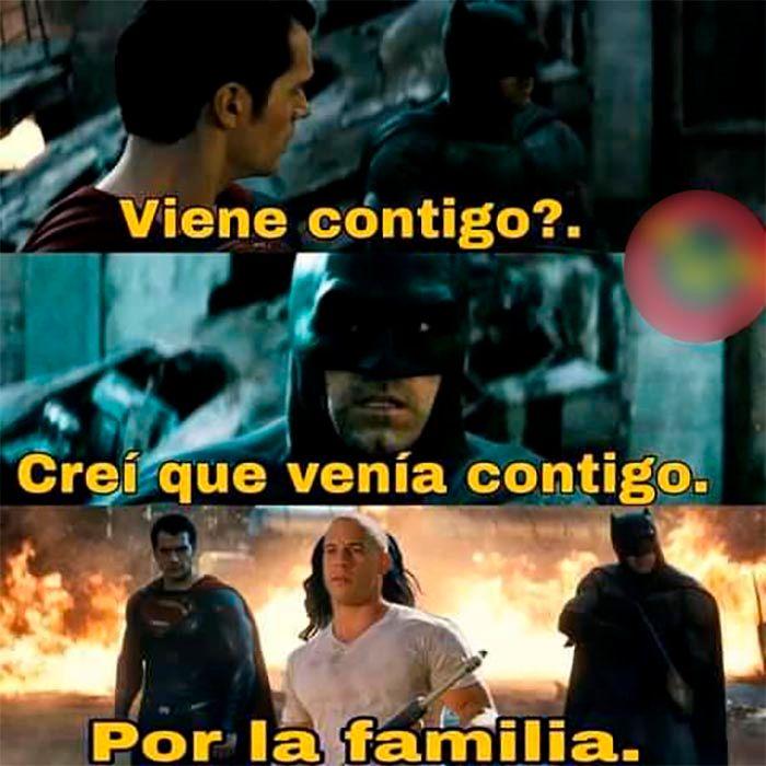 Meme Toretto por la familia Batman Vs Superman