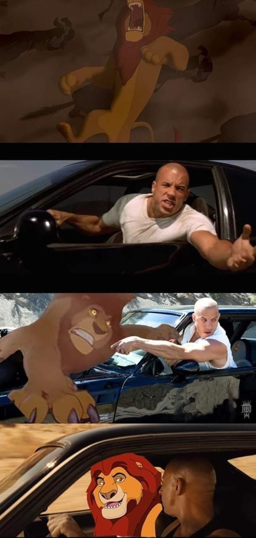 Meme de Toretto y la familia El Rey Leon