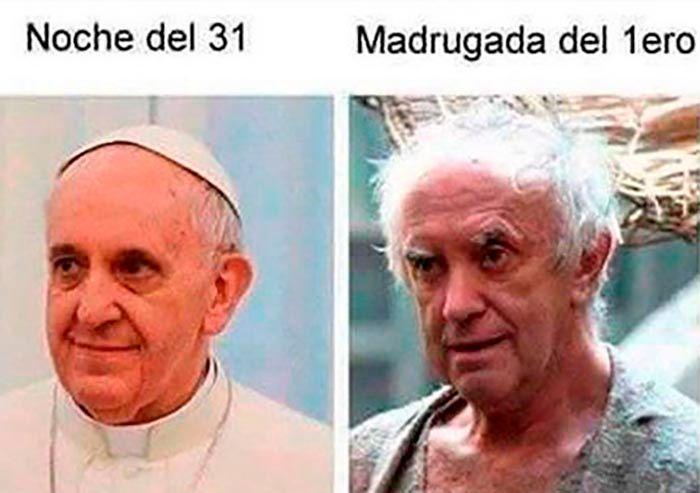 Meme papa francisco Año Nuevo 2021