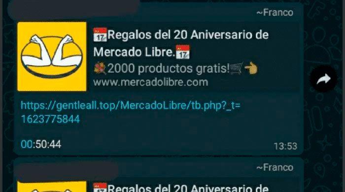 Mensaje de WhatsApp estafa Mercado Libre