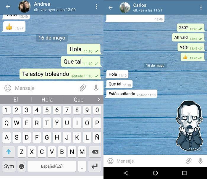 Mensaje editado Telegram