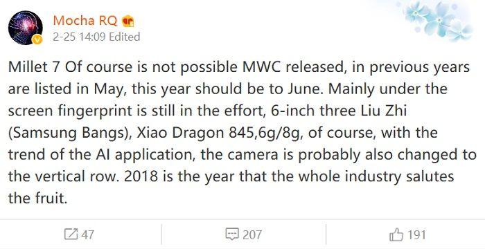 Mensaje que confirma la fecha de presentación del Xiaomi Mi 7
