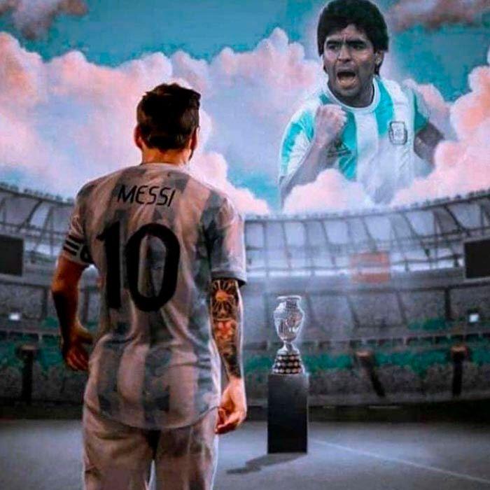 Messi con Maradona meme Argentina campeon 2021