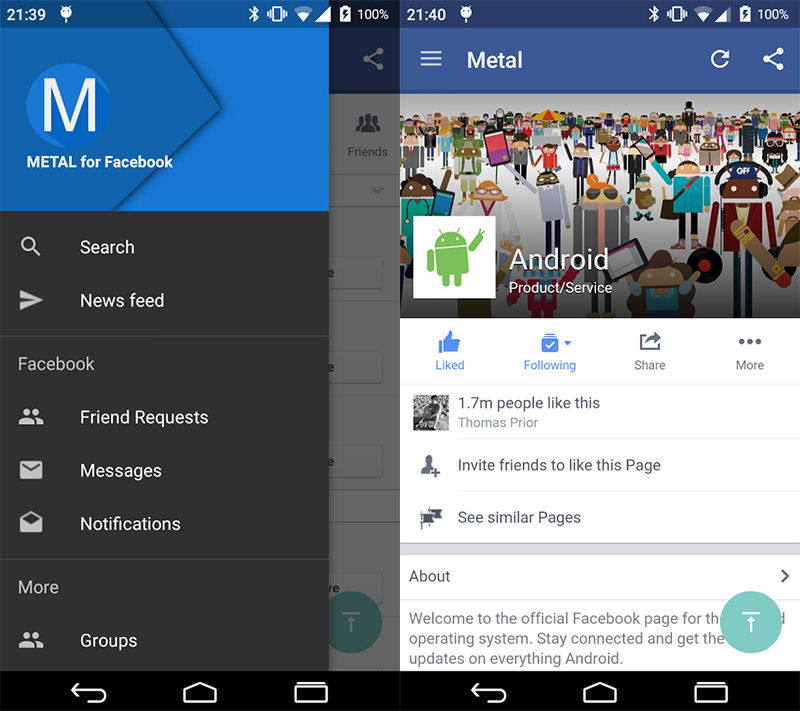 Metal for Facebook App