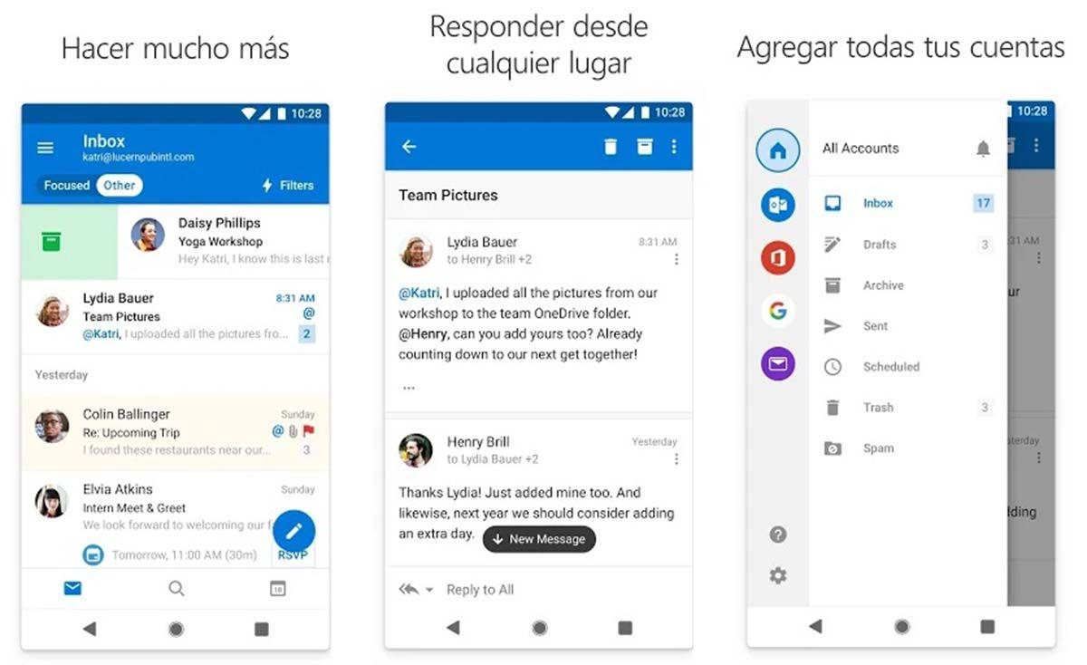 Microsoft Outlook una alternativa a Gmail para Android e iOS
