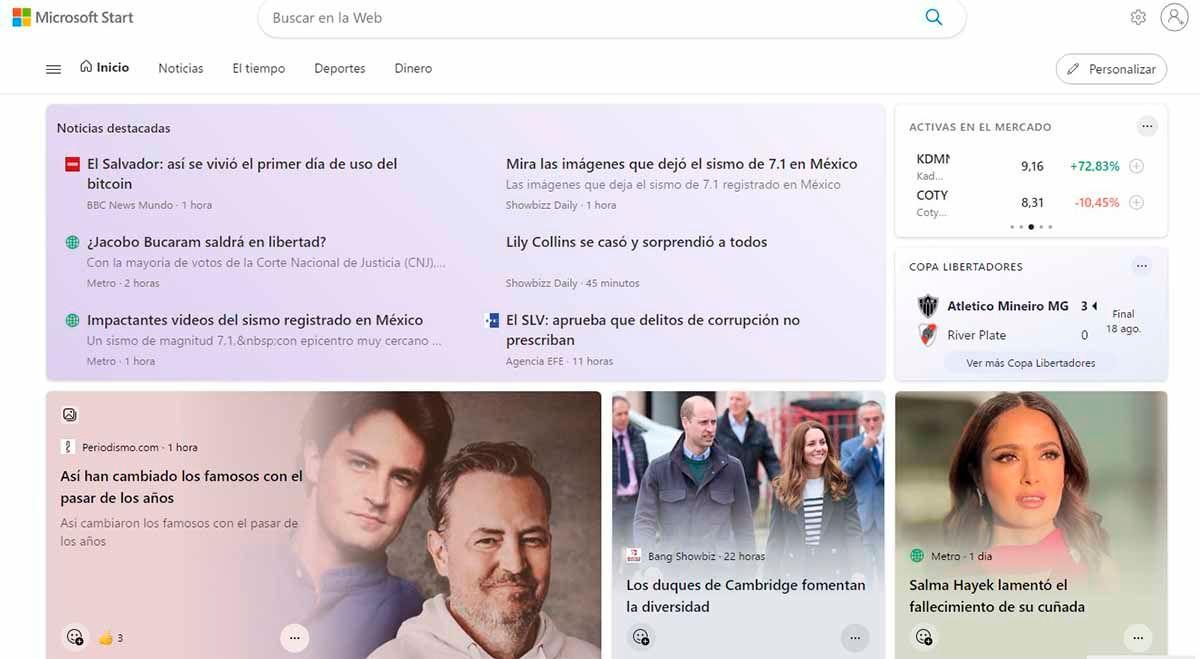 Microsoft Start versión web Google Chrome Edge