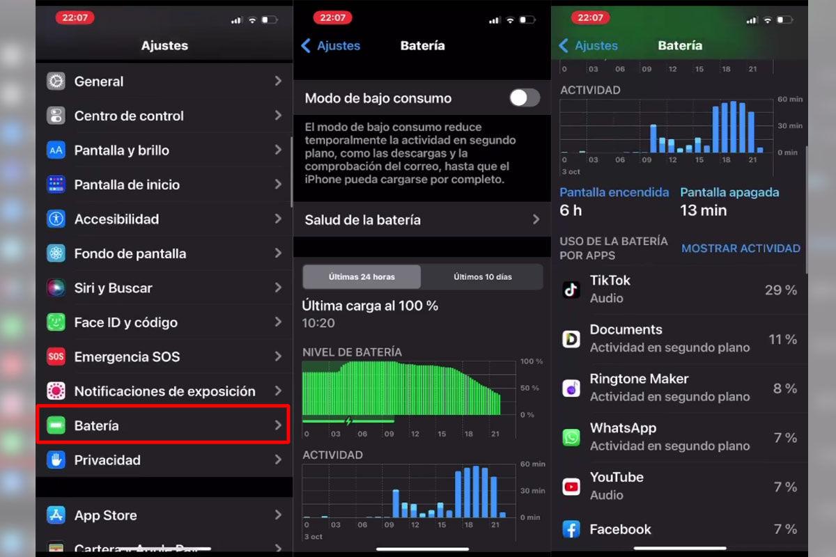 Mira qué apps están consumiento más batería de tu iPhone 13 paso a paso