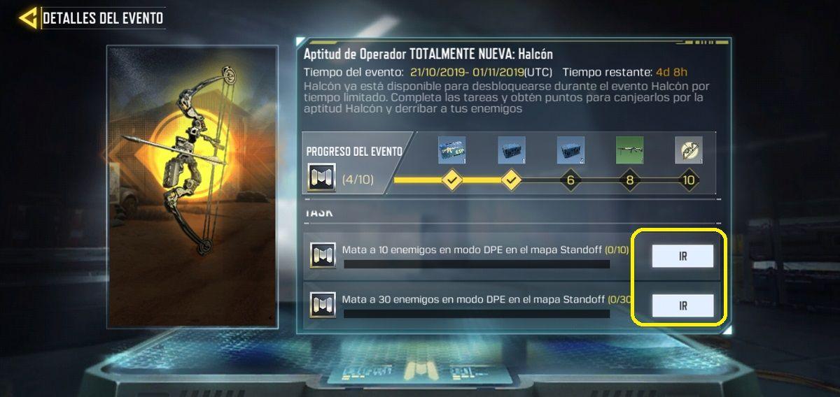 Misiones Arco del Halcon Call of Duty Mobile