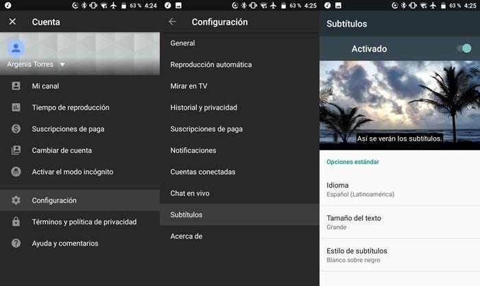 Modificar subtitulos de YouTube app en Android
