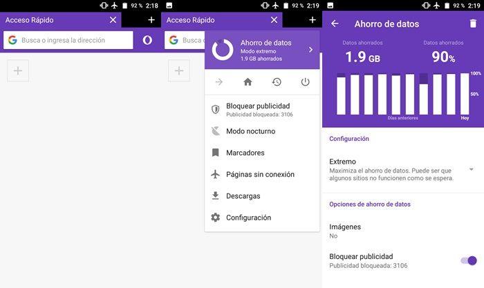 Modo ahorro de datos super extremo de Opera mini