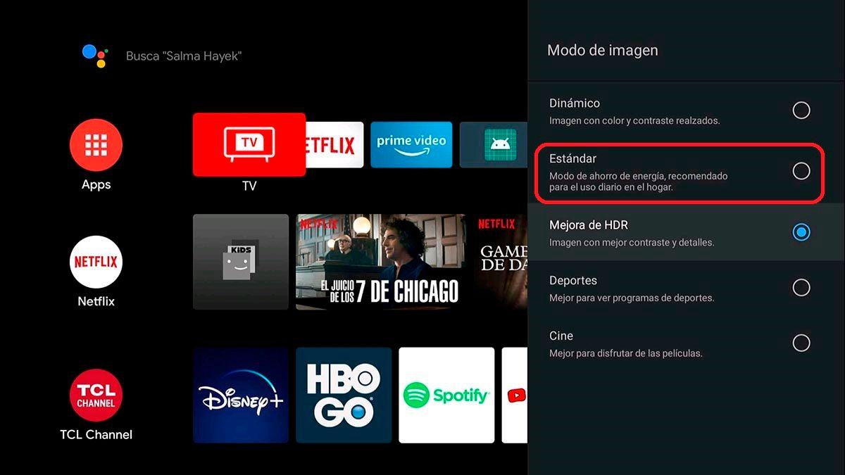 Modo ahorro de imagen Android TV