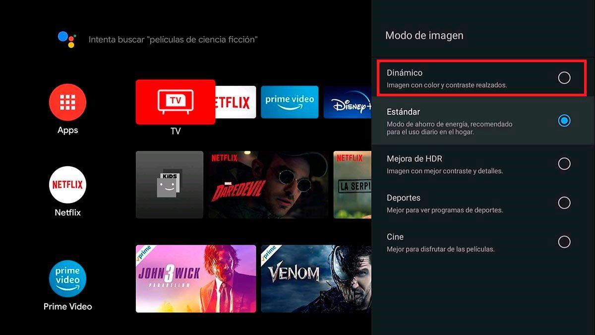Modo de imagen dinamico Android TV TCL