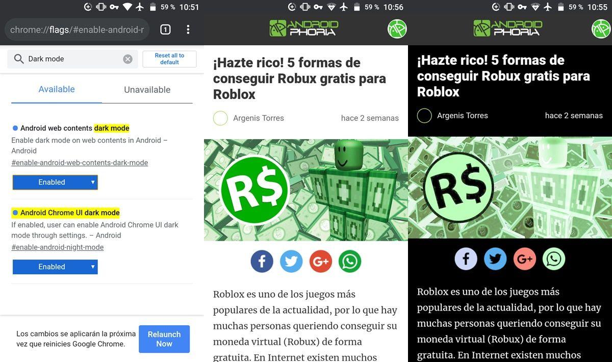Modo oscuro paginas web Chrome android