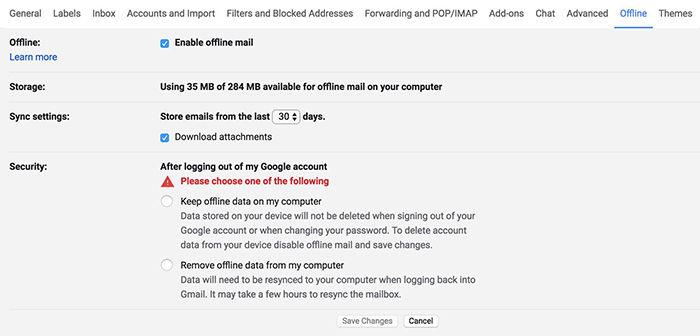 Modo sin conexión en Gmail