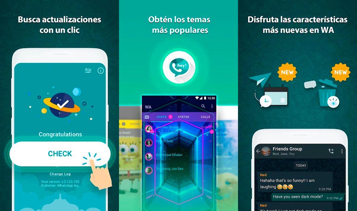 Mods de WhatsApp que pueden actualizasrse con AppUpdater