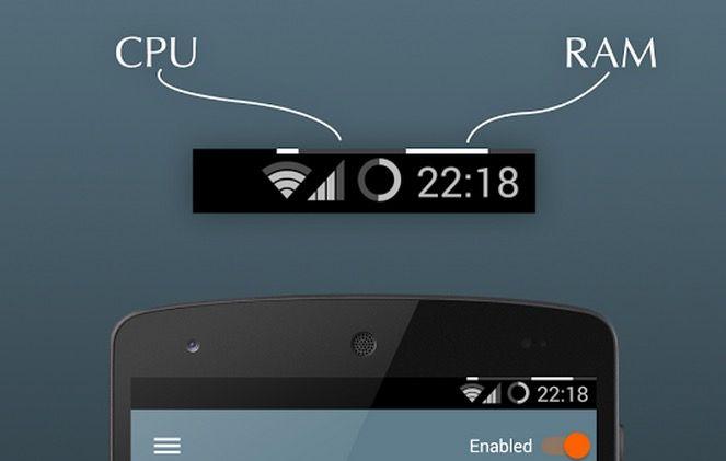 Monitor de sistema para Android en la barra de estado