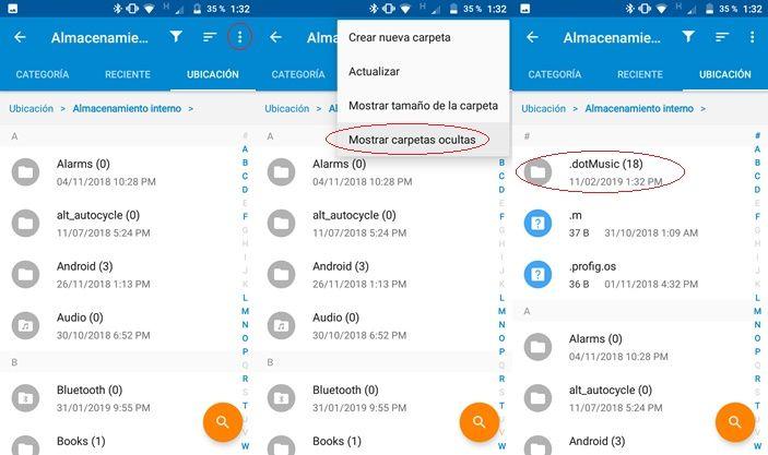 Mostrar carpetas ocultas en Android